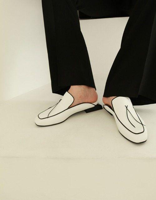 T102 lace loafer white (2-way) 2.5cm